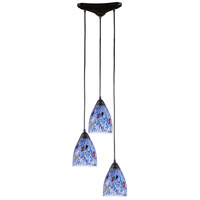 ELK 406-3BL Classico 3 Light 10 inch Dark Rust Pendant Ceiling Light in Starburst Blue Glass photo thumbnail