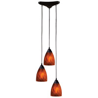 Classico 3 Light 10 inch Dark Rust Pendant Ceiling Light in Espresso Glass