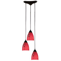 ELK 406-3FR Classico 3 Light 10 inch Dark Rust Pendant Ceiling Light in Fire Red Glass photo thumbnail
