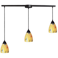 Classico 3 Light 36 inch Dark Rust Pendant Ceiling Light in Yellow Blaze Glass