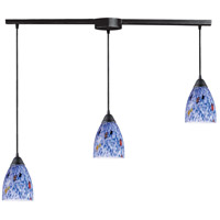 ELK 406-3L-BL Classico 3 Light 5 inch Dark Rust Mini Pendant Ceiling Light in Starburst Blue Glass, Incandescent, Linear with Recessed Adapter, Linear