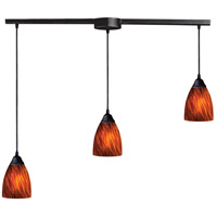 Classico 3 Light 36 inch Dark Rust Pendant Ceiling Light in Espresso Glass