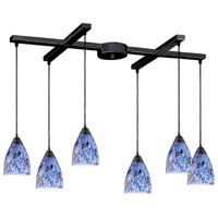 Classico 6 Light 33 inch Dark Rust Pendant Ceiling Light in Starburst Blue Glass
