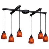 Classico 6 Light 33 inch Dark Rust Pendant Ceiling Light in Espresso Glass
