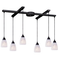 Classico 6 Light 33 inch Dark Rust Pendant Ceiling Light in Snow White Glass