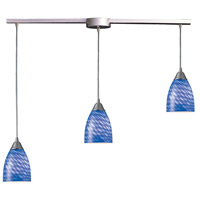 Arco Baleno 3 Light 10 inch Satin Nickel Pendant Ceiling Light in Sapphire Glass
