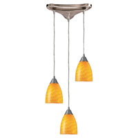 ELK 416-3CN Arco Baleno 3 Light 10 inch Satin Nickel Pendant Ceiling Light in Canary, Incandescent, Triangular Canopy