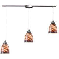 Arco Baleno 3 Light 10 inch Satin Nickel Pendant Ceiling Light in Cocoa Glass