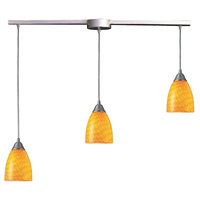Arco Baleno 3 Light 10 inch Satin Nickel Pendant Ceiling Light in Canary Glass