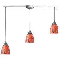 Arco Baleno 3 Light 10 inch Satin Nickel Pendant Ceiling Light in Multi Glass