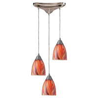 ELK 416-3M Arco Baleno 3 Light 10 inch Satin Nickel Pendant Ceiling Light in Multi Glass, Incandescent, Triangular Canopy