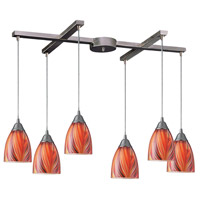 Arco Baleno 6 Light 33 inch Satin Nickel Pendant Ceiling Light in Multi Glass