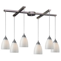 Arco Baleno 6 Light 33 inch Satin Nickel Pendant Ceiling Light in White Swirl Glass