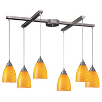 ELK 416-6CN Arco Baleno 6 Light 33 inch Satin Nickel Pendant Ceiling Light in Canary Glass photo thumbnail