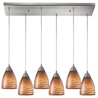 Arco Baleno 6 Light 30 inch Satin Nickel Pendant Ceiling Light in Cocoa Glass