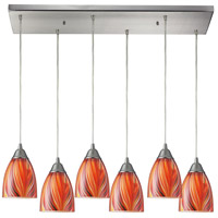 Arco Baleno 6 Light 30 inch Satin Nickel Pendant Ceiling Light in Multi Glass