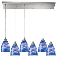 ELK 416-6RC-S Arco Baleno 6 Light 9 inch Satin Nickel Mini Pendant Ceiling Light in Sapphire Glass, Incandescent, Rectangular Canopy, Rectangular