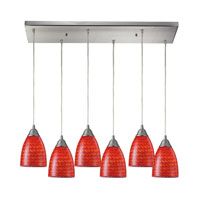 Arco Baleno 6 Light 30 inch Satin Nickel Pendant Ceiling Light in Scarlet Red Glass