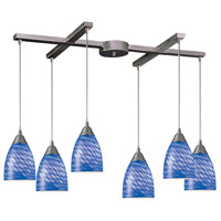 Arco Baleno 6 Light 33 inch Satin Nickel Pendant Ceiling Light in Sapphire Glass