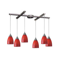 Arco Baleno 6 Light 33 inch Satin Nickel Pendant Ceiling Light in Scarlet Red Glass