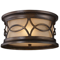 Burlington Junction 2 Light 12 inch Hazelnut Bronze Outdoor Flushmount in Standard