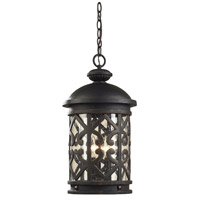Tuscany Coast 3 Light 10 inch Weathered Charcoal Outdoor Hanging Lantern