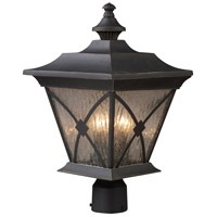 ELK Lighting Rutland Square 3 Light Outdoor Post Light in Hazelnut Bronze 42124/1