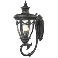 ELK Lighting Anise 3 Light Outdoor Wall Sconce in Textured Matte Black 45077/3