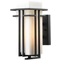 Croftwell 1 Light 12 inch Textured Matte Black Outdoor Wall Sconce in Standard