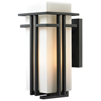 ELK 45087/1 Croftwell 1 Light 17 inch Textured Matte Black Outdoor Wall Sconce in Incandescent