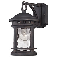 ELK Lighting Costa Mesa 1 Light Outdoor Wall Lantern in Weathered Charcoal with Clear Water Glass 45110/1