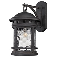 ELK Lighting Costa Mesa 1 Light Outdoor Wall Lantern in Weathered Charcoal with Clear Water Glass 45111/1