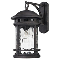 ELK Lighting Costa Mesa 1 Light Outdoor Wall Lantern in Weathered Charcoal with Clear Water Glass 45112/1