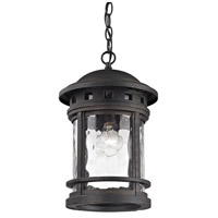 ELK Lighting Costa Mesa 1 Light Outdoor Pendant in Weathered Charcoal with Clear Water Glass 45113/1
