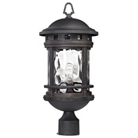 ELK Lighting Costa Mesa 1 Light Outdoor Post Lantern in Weathered Charcoal with Clear Water Glass 45114/1