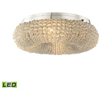 Crystal Rings LED 13 inch Polished Chrome Semi Flush Mount Ceiling Light