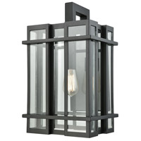 ELK 45316/1 Glass Tower 1 Light 18 inch Matte Black Outdoor Wall Sconce