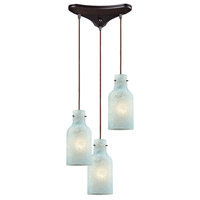 ELK 45345/3 Weatherly 3 Light 10 inch Oil Rubbed Bronze Mini Pendant Ceiling Light in Triangular Canopy, Triangular