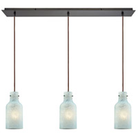 Weatherly 3 Light 36 inch Oil Rubbed Bronze Linear Pendant Ceiling Light, Linear Pan