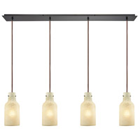 Weatherly 4 Light 46 inch Oil Rubbed Bronze Linear Pendant Ceiling Light, Linear Pan