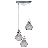 ELK 46014/3 Danica 3 Light 10 inch Polished Chrome Pendant Ceiling Light in Triangular Canopy