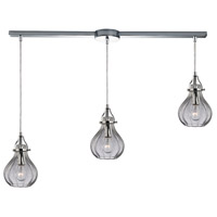 ELK 46014/3L Danica 3 Light 36 inch Polished Chrome Linear Pendant Ceiling Light in Linear with Recessed Adapter