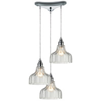 ELK 46018/3 Danica 3 Light 10 inch Polished Chrome Mini Pendant Ceiling Light in Triangular Canopy Triangular