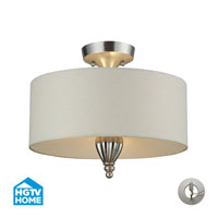Martique 3 Light 15 inch Silver Leaf Semi-Flush Mount Ceiling Light in Recessed Adapter Kit