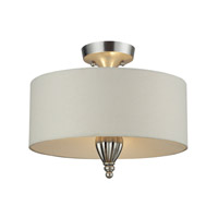 Martique 3 Light 15 inch Silver Leaf Semi-Flush Mount Ceiling Light in Standard