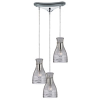 Strata 3 Light 10 inch Polished Chrome Mini Pendant Ceiling Light in Triangular Canopy, Triangular
