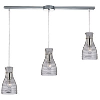 Strata 3 Light 5 inch Polished Chrome Mini Pendant Ceiling Light in Linear with Recessed Adapter, Linear