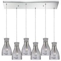 Strata 6 Light 9 inch Polished Chrome Mini Pendant Ceiling Light in Rectangular Canopy, Rectangular