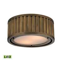 Linden LED 12 inch Aged Brass Flush Mount Ceiling Light