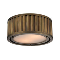 Linden 2 Light 12 inch Aged Brass Flush Mount Ceiling Light in Standard